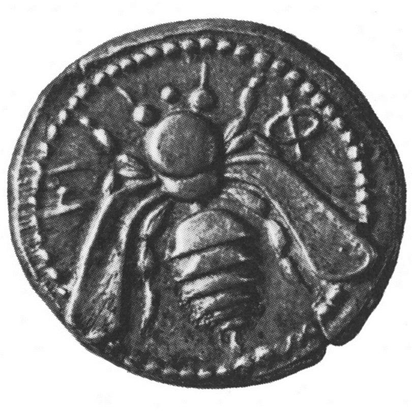 Античная монета с изображением пчелы